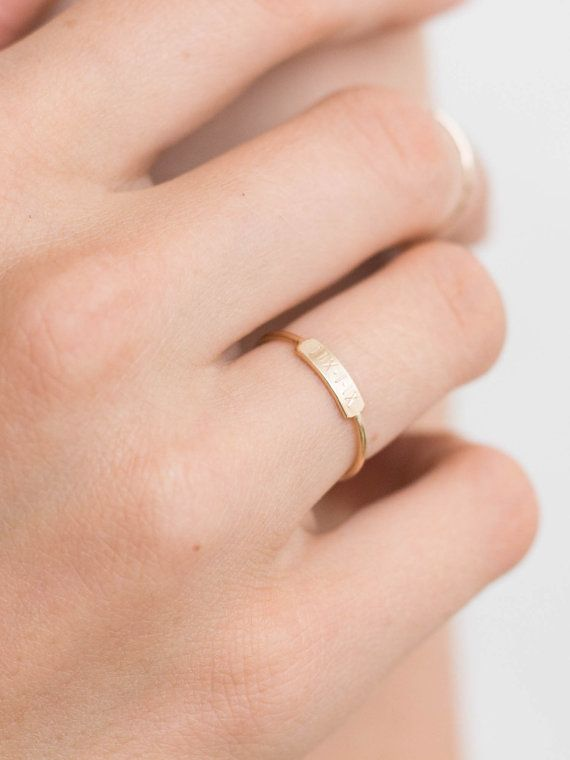 Dainty Bar Ring / Personalized /by LayeredAndLong (X•XXVI or 1•26•13 or XII•XXXI)