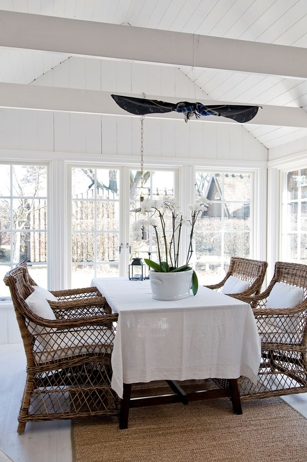 Dining, White, Natural, Wicker, Linen · Wicker Dining ChairsDining Room ...