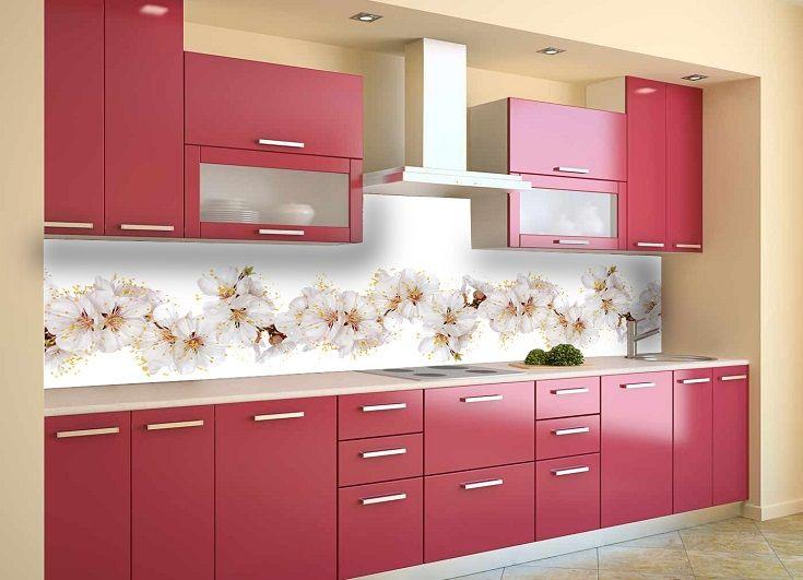 Кухонный фартук Цветы вишни. Цена 430 грн. Декор для ванной и кухни, декор и текстиль для кухни, декоративные наклейки, наклейки printable, наклейки на кухню, виниловые наклейки для кухни, декоративные наклейки на мебель.