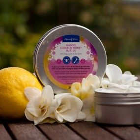 Mango, Lemon & Honey Body Butter Cream. 250gm tin.Awaken your senses and spirit with this fresh, fruity butter cream, which not only smells amazing but deeply nourishes your skin. This cool refreshing butter stimulates and refreshes your body and mind.