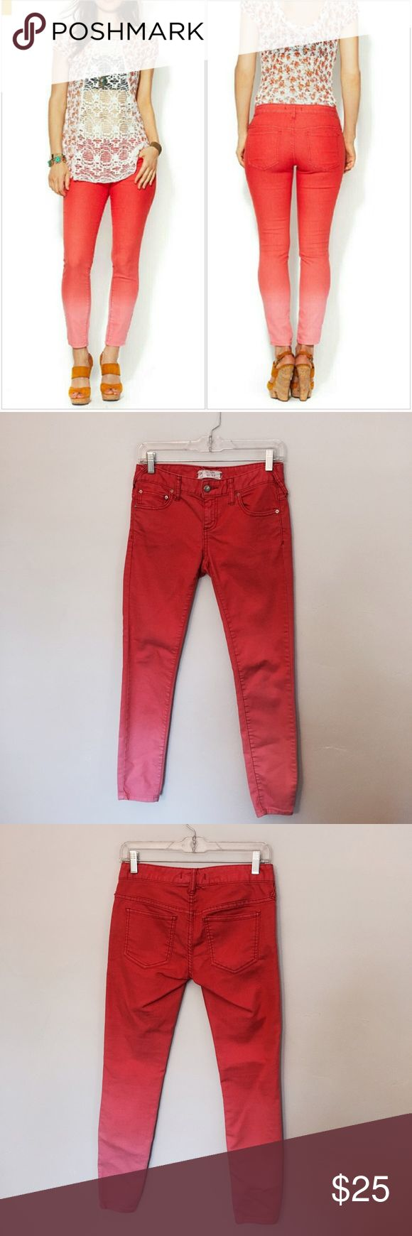Free People Red Ombré Cropped Skinny Jeans These are a stunning pair of ombre cropped skinny jeans from Free People that are perfect for the warmer weather! In a lovely shade of red that fades to a coral pink, these skinny jeans add a fantastic pop of color to any outfit. Looks great with anything from booties to sandals, these jeans are a great option for any spring or summer look! In excellent used condition with no visible signs of wear, tear, rips, stains, etc. Free People Jeans Skinny