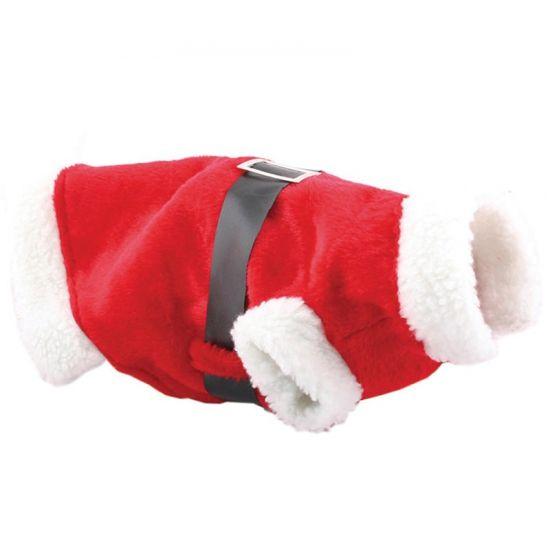 Kerstman kostuum voor de hond. Verkleed uw hond dit jaar als de kerstman. Rood lichaam en witte banden om de nek, rug en poten. Met zwarte riem en gesp. One size, ongeveer 34,5 x 32,5 x 2 cm.