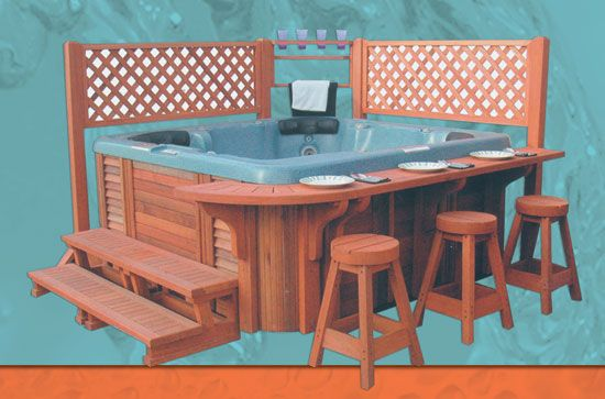 Hot Tub Surround Ideas | Catalina spa's spa deck for hot tubs with bar and counter