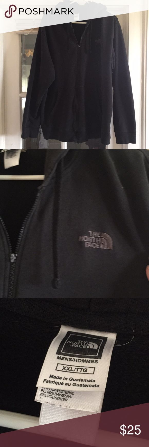 North Face Hoody North Face / black hooded sweatshirt / Men's size XXL / all black / zipper up front / pockets / zipper works but the zipper pull is gone / a little fading on front but still in good condition North Face Sweaters Zip Up