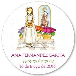 Etiqueta de Comunión redonda de niña con Virgen Colegio Sagrado Corazón