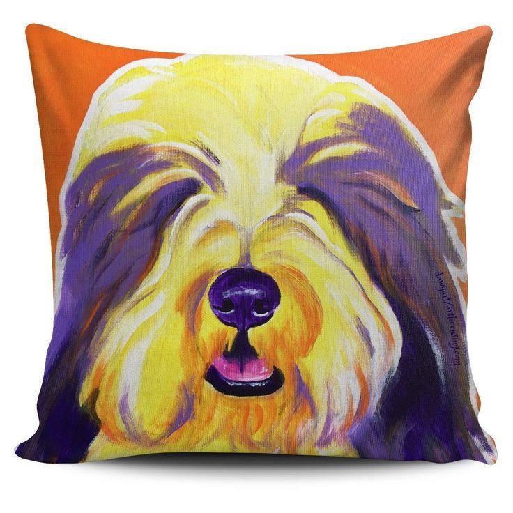 Pillow Cover - English Sheepdog - Banana