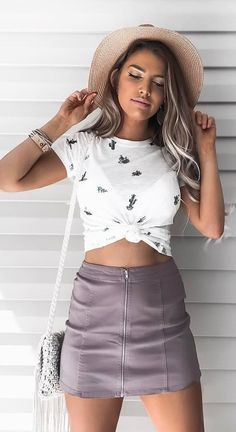 #spring #outfits Beige Hat + White Printed Crop Top + Purple Zipped Skirt