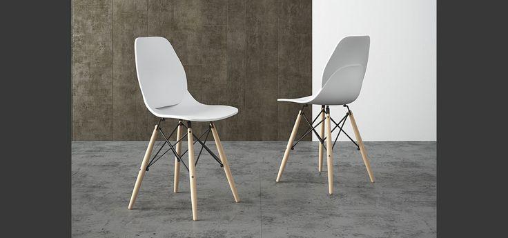 Noemi sedia con gambe in faggio su struttura in metallo nero con seduta in polipropilene · modern