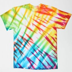 Create layer upon layer of colorful stripes by simply folding a plain white tee and adding assorted colors of fabric spray paint.