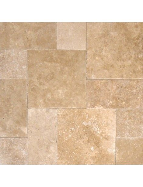 16 in. x 16 in. Tuscany Walnut Tumbled Travertine Paver Tile #Tuscany_Walnut #Travertine_Paver_Tile #Travertine_Tile