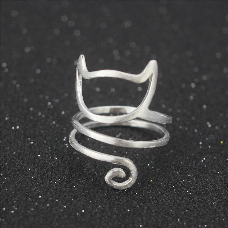 Trasporto libero 925 sterling silver r filo di avvolgimento simpatico gatto anello regolabile nero Venerdì
