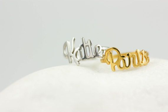 Custom Name Ring, Baby Name Ring, New Mom Ring, Gold Name Ring, Personalized Name Ring, Personalized Jewelry, Name Gift for Her, SR0212
