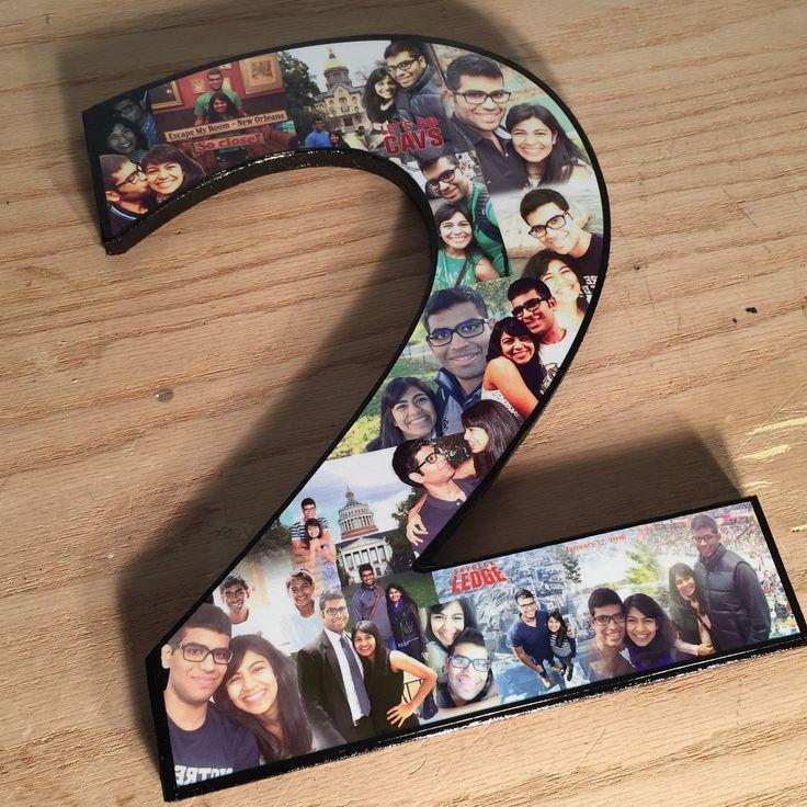 Collage de fotos en forma de número 2 regalo por MatchPointGifts