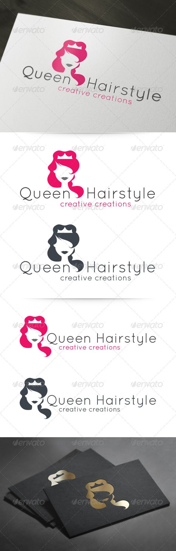 Queen Hairstyle Beauty Salon Logo Template