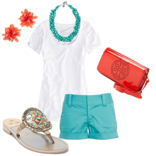 Loving this adorable white, coral, and aqua outfit! - (I miss living in Florida where you could get away with wearing shorts and slippers like this)