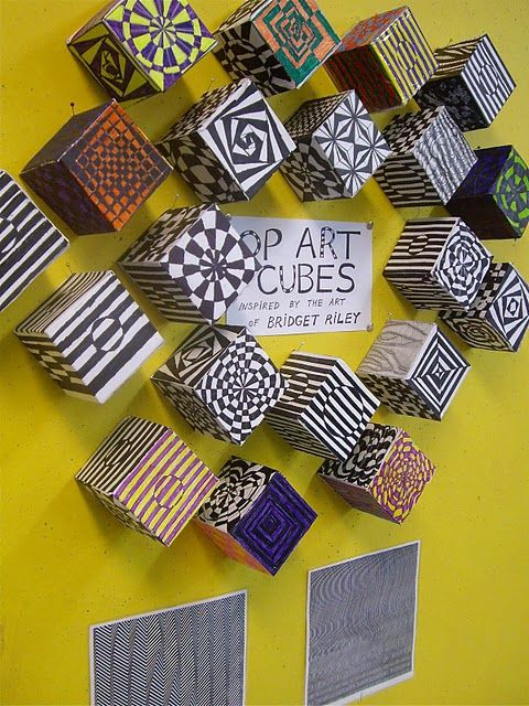op art cubes...all my art ed friends, you have convinced me to start this board because you keep pinning amazing ideas, and I'd like to try them too!