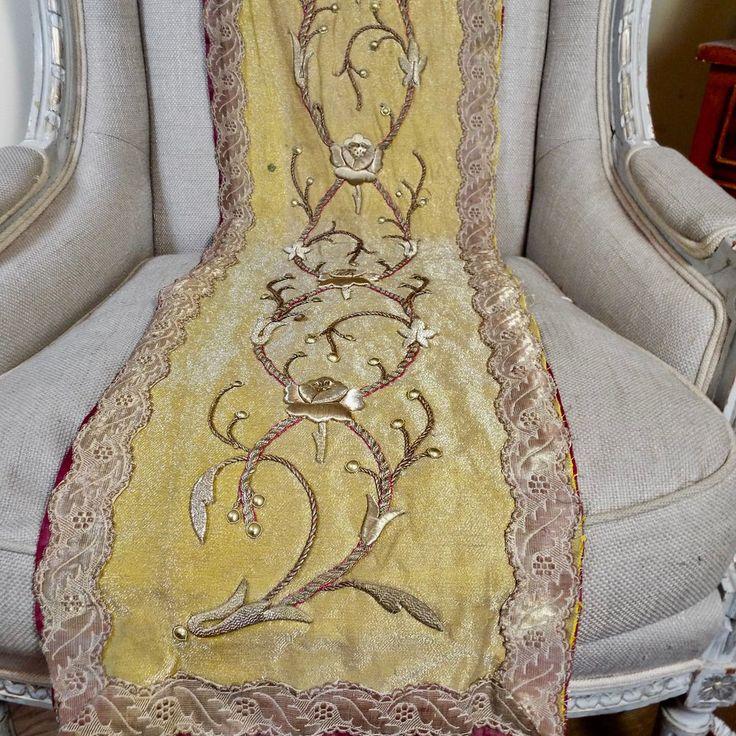 Антикварный французский золотой металлической вышивки панель поднял stumpwork розы цветы | Антиквариат, Текстиль для дома (до 1930 г.), Вышивка | eBay!