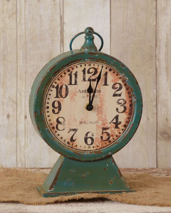 New Shabby  French Country Chic Teal Blue Antique Style Pedestal Mantel Clock #Shabby