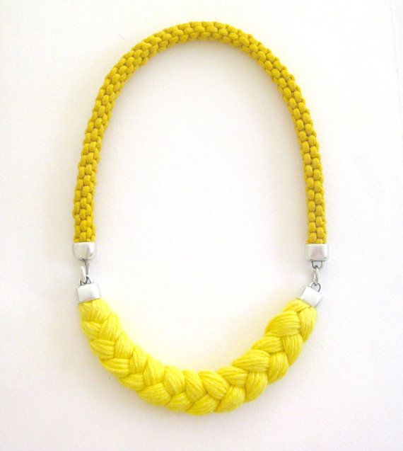 yellow rope necklace - sunny statement necklace in yellow - spring braided cotton rope and yarn necklace