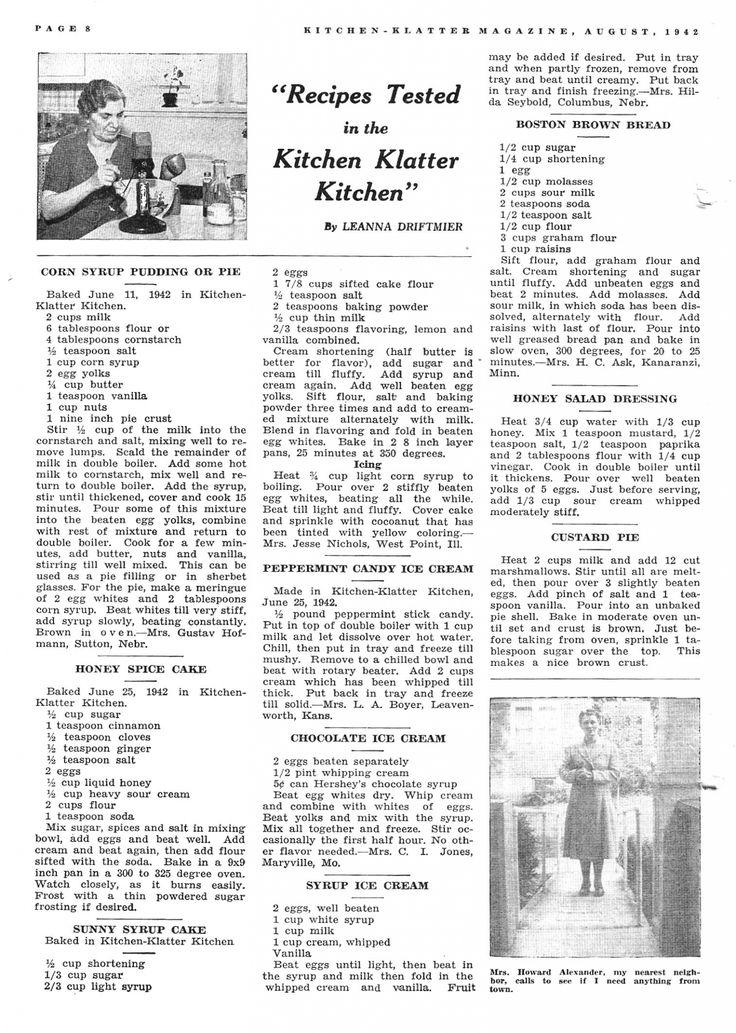 Kitchen Klatter Magazine, August 1942 Corn Syrup Pudding or Pie, Honey Spice Cake, Sunny Syrup Cake, Peppermint Candy Ice Cream, Chocolate Ice Cream, Syrup Ice Cream, Boston Brown Bread, Honey Salad Dressing, Custard Pie
