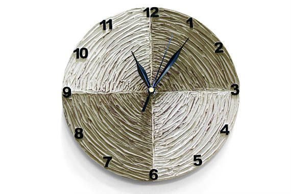 #brown #taupe #white #home #decor White Brown Clock Modern WALL CLOCK with numbers Unique wall
