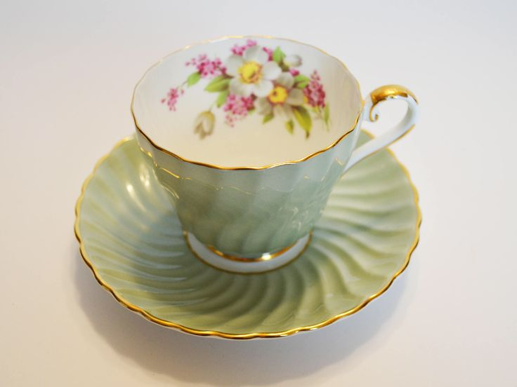 Aynsley Mint Green Tea cup and Saucer Swirl pattern - cabinet duo, Bone China England - Apple Blossoms Gold Trim by Trashtiques on Etsy https://www.etsy.com/ca/listing/548342850/aynsley-mint-green-tea-cup-and-saucer