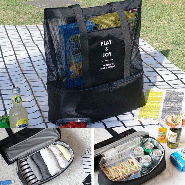 Handheld Lunch Bag Aluminum Foil Insulated Picnic Bag Food Storage Bag Nylon Mesh Beach Bag