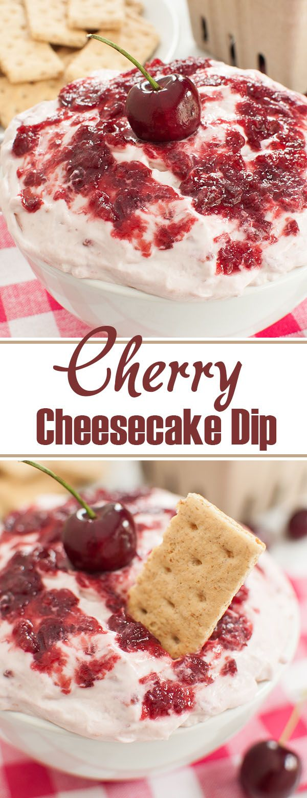Easy cherry cheesecake dip is a colorful dessert recipe for Valentine's day, a baby shower or any party. Fresh cherries make a lovely addition to this sweet dip. Pairs perfectly with graham crackers. #cherry #cheesecakedip #dip #dessert #nobake #valentines #valentinesday #spring #diprecipe #appetizer #valentinerecipes