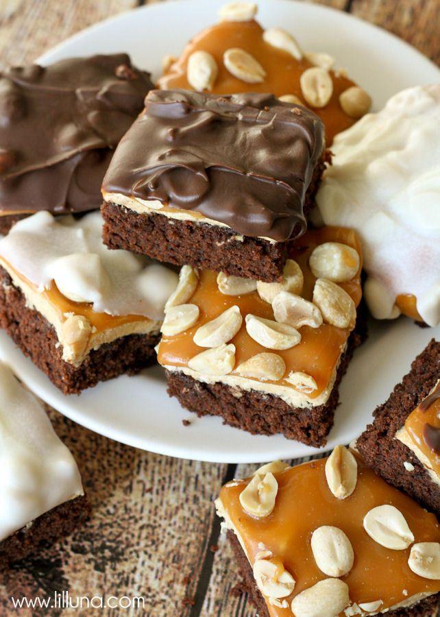 ... Brownies, Desserts Bar, Brownies Bar, Bites Recipe, Snickers Brownies