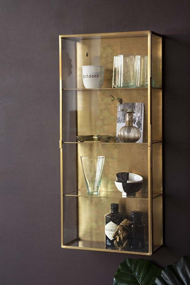 Brass Glass Wall Mounted Display Cabinet Rockett St George Wall Mounted Display Cabinets Glass Cabinets Display Glass Wall Shelves Wall mounted display cabinets with glass doors