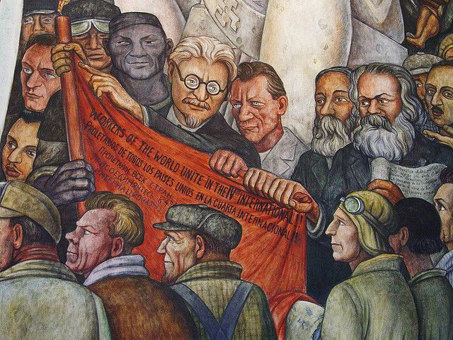 Nelson Rockefeller commissioned this Mural by Mexican Communist painter Diego Rivera during the 1930.  Rockefeller himself is portrayed shoulder to shoulder with Leon Trotsky, surrounded by other famous Communists, including Karl Marx.   It was originally displayed  in the RCA (now GE) Building in Rockefeller Center, New York.  Rockefeller had it quietly removed during the anti-Communist backlash of the House on Unamerican Activities Committee hearings in Congress.
