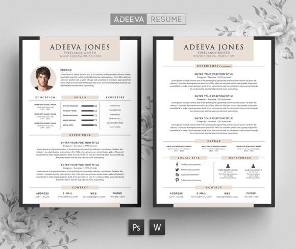 Professional Resume Template Jones by AdeevaResume on @creativemarket