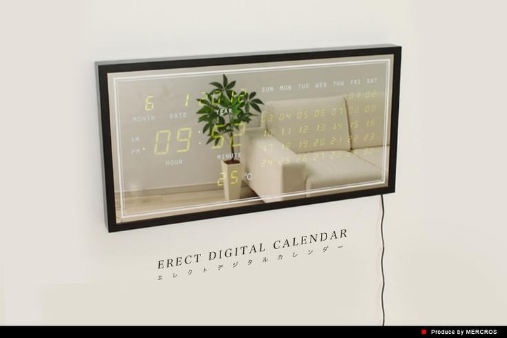 【楽天市場】ERECT DIGITAL CALENDAR(エレクトデジタルカレンダー|ミラー 鏡 温度計 壁掛け時計 置き時計)\13,650