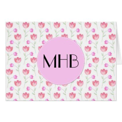 Monogram - Flowers Leaves Plant Stems - Pink Card - floral style flower flowers stylish diy personalize