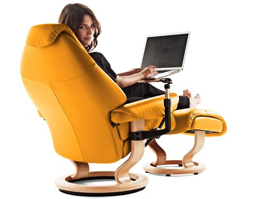 Stressless Voyager. No more repetitive motion or spinal issues from hunching over a desk any more.