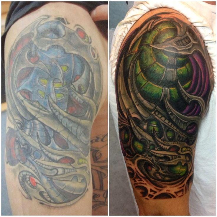 Biomechanical Tattoo Cover Up by Mark Haley at Big Ink Tattoos and Piercing #big ink tattoos #mark Haley tattoos #cover up tattoo #biomechanical tattoo #tattoo #tattoos #arnot mall tattoos #arnot mall #biomech #biomech tattoo #horseheads ny #corning ny #fusion ink #h2ocean #aftercareless #color tattoo #tattoo rework