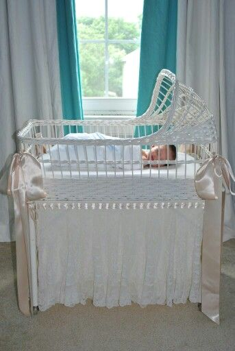 Antique Wicker Bassinet With Antique Lace Skirt Sewing