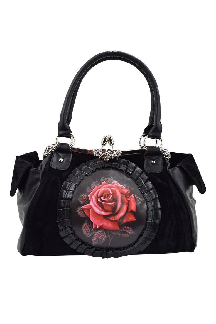 This beautiful high quality Victorian Gothic handbag features a Red or Purple rose print cameo at the front edged with black lace and pleated ribbon. The front is made from black velvet and the rest m