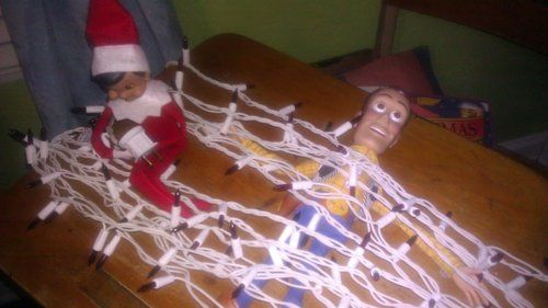 Elf Has Woody Hog Tied  Rene thinks Zock (the elf) is waiting for a train!