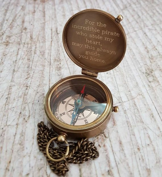 Working Compass Custom gift Go Confidently Thoreau/'s Quote Engraved Compass Handmade gift Brass Compass Custom Engraved Compass