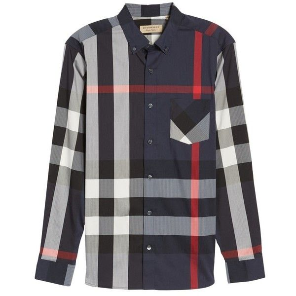 Men's Burberry Thornaby Slim Fit Plaid Sportshirt (16.595 RUB) ❤ liked on Polyvore featuring men's fashion, men's clothing, men's shirts, men's casual shirts, navy, mens slim fit shirts, mens slim shirts, mens checked shirts and mens checkered shirts