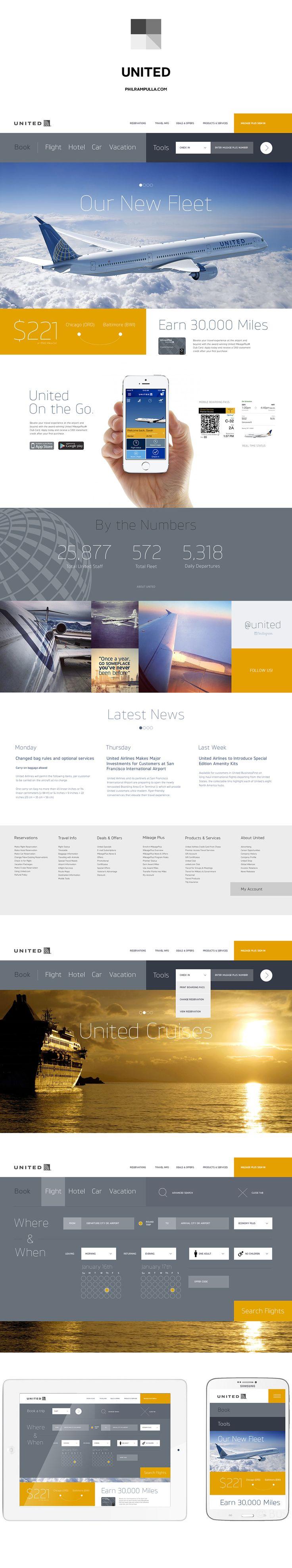 유나이티드 항공 Behance에 웹 사이트 재 설계