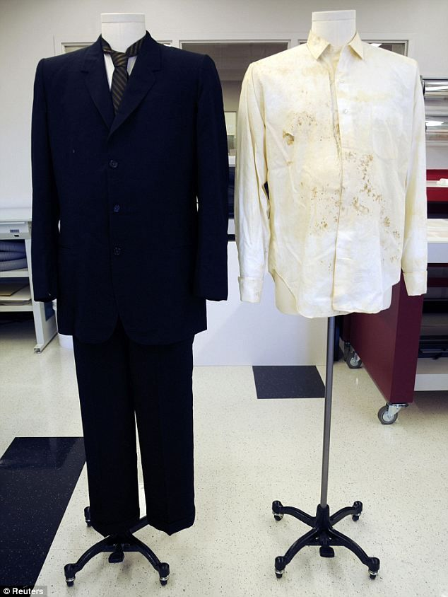 Part of history: The suit and shirt that Governor John Connally wore on the day of the Kennedy assassination have been put on display as part of the 50th anniversary commemorations