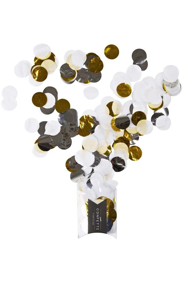 Prepare yourself for squeals of delight from your little guests and all those young at heart!  Gorgeous mix of confetti containing shades of white, mylar gold & silver! Perfect for for throwing, decorating & playing!   Little Boo-Teek - Shop Poppies for Grace Boutique Party Supplies   Metallic Confetti