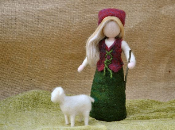 Girl with sheep Needle Felted Waldorf inspired by MagicWool, $60.00