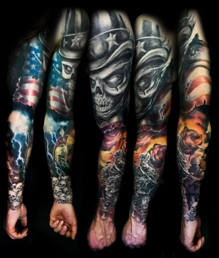 Military themed sleeve by filthmg on deviantart my for Military sleeve tattoo