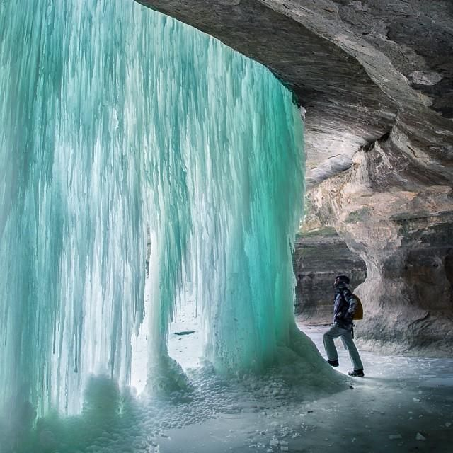 Icefall Glow - LaSelle Canyon at Starved Rock State Park, IL. Photo credit: @Darek Markiewicz on Instagram