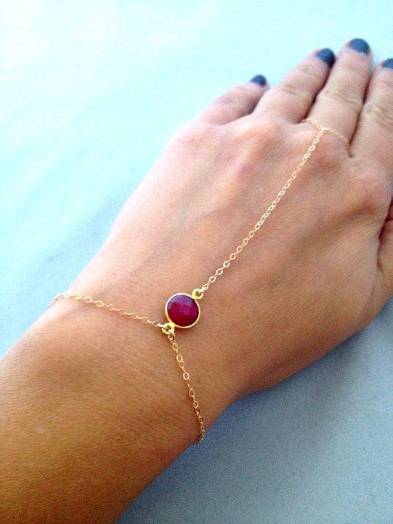 Ruby Gemstone Slave Bracelet Hand Chain 14k Gold Filled Fashion Jewelry Bracelets