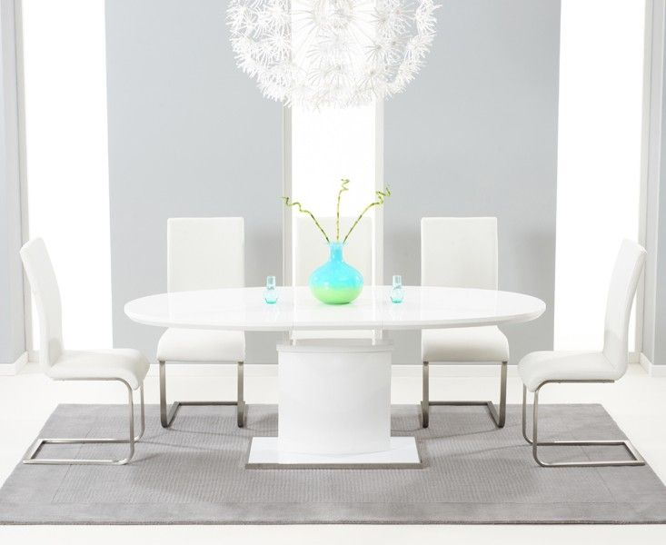 Buy the Santana 160cm White High Gloss Extending Pedestal Dining Table with Malaga Chairs at Oak Furniture Superstore