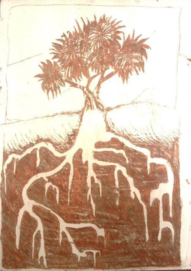 ARTWORK (drawing) Deep roots (sgraffito technique)